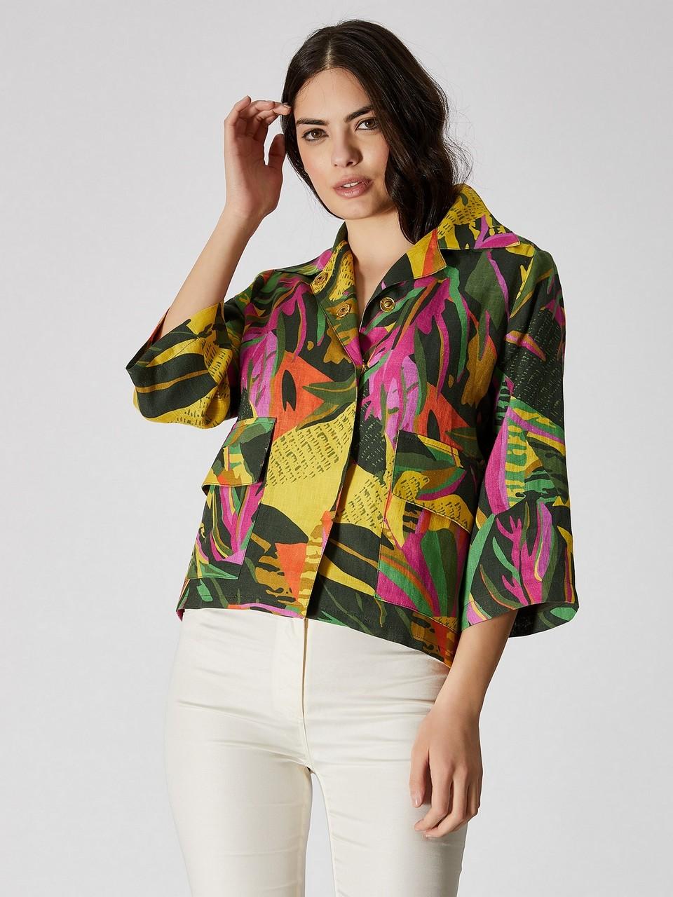 Three Quarter Sleeve Floral Patterned Linen Jacket