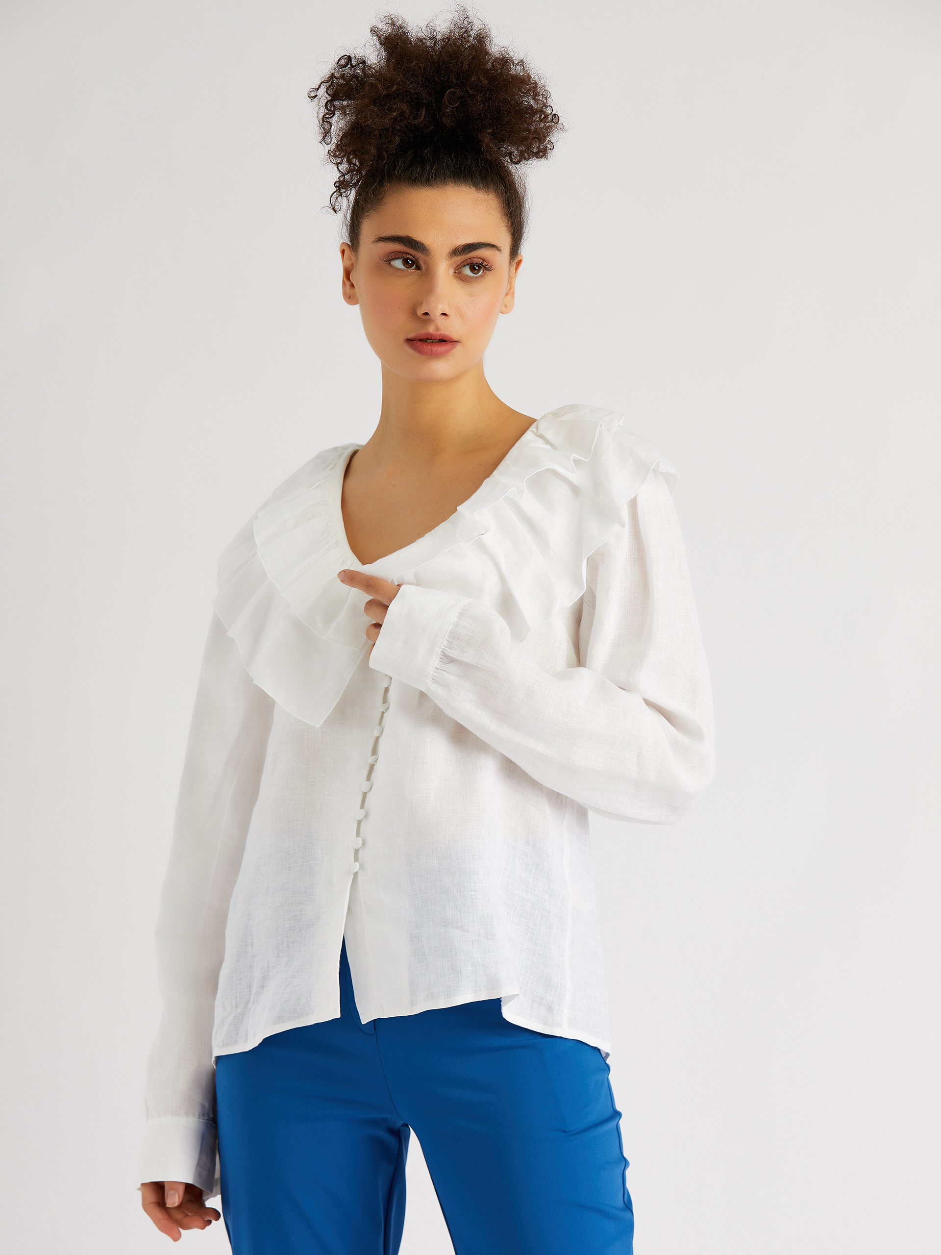 V-Neck Ruffle Detailed Shirt