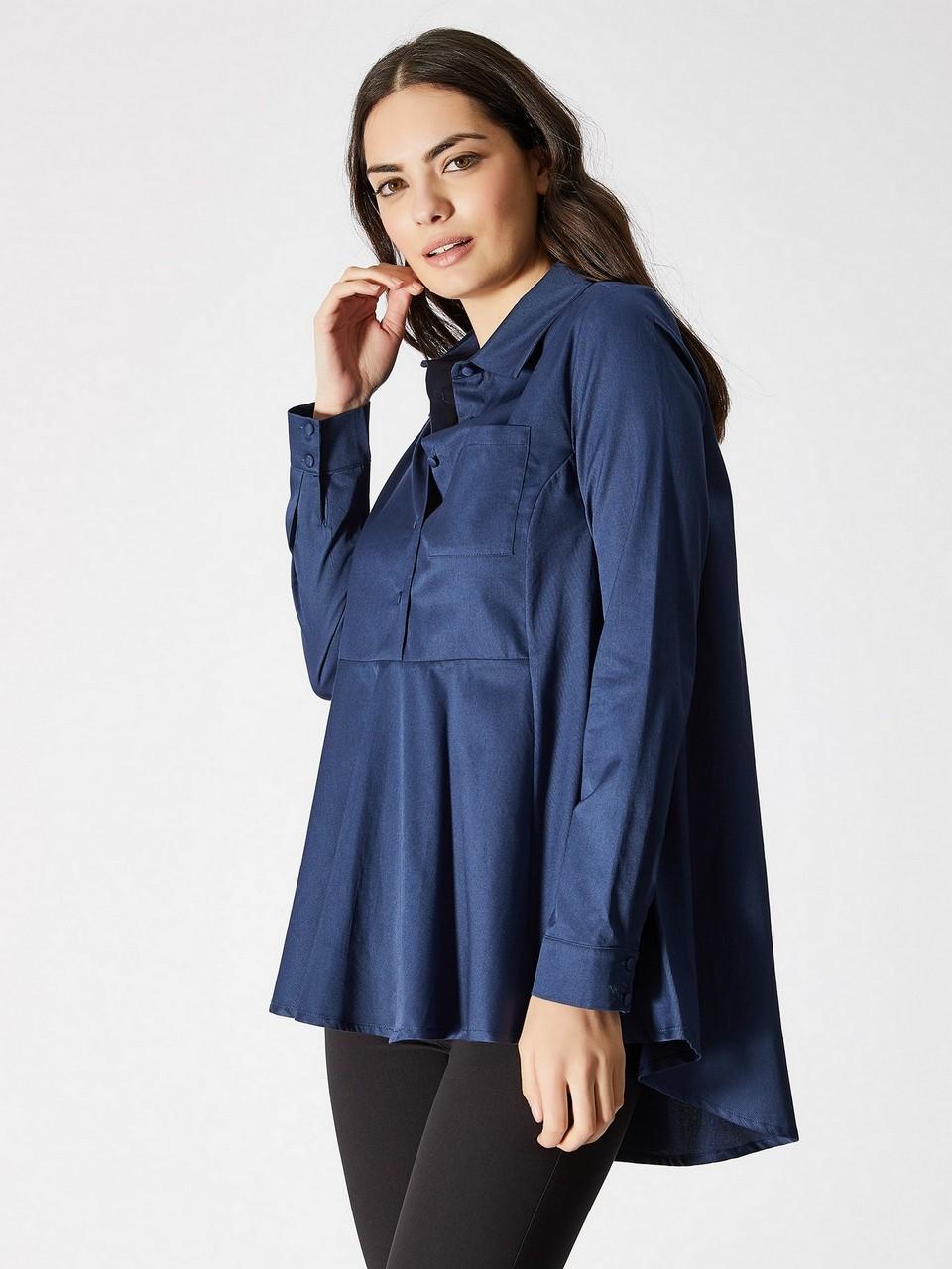 Asymmetrical Cut Pocket Detailed Shirt