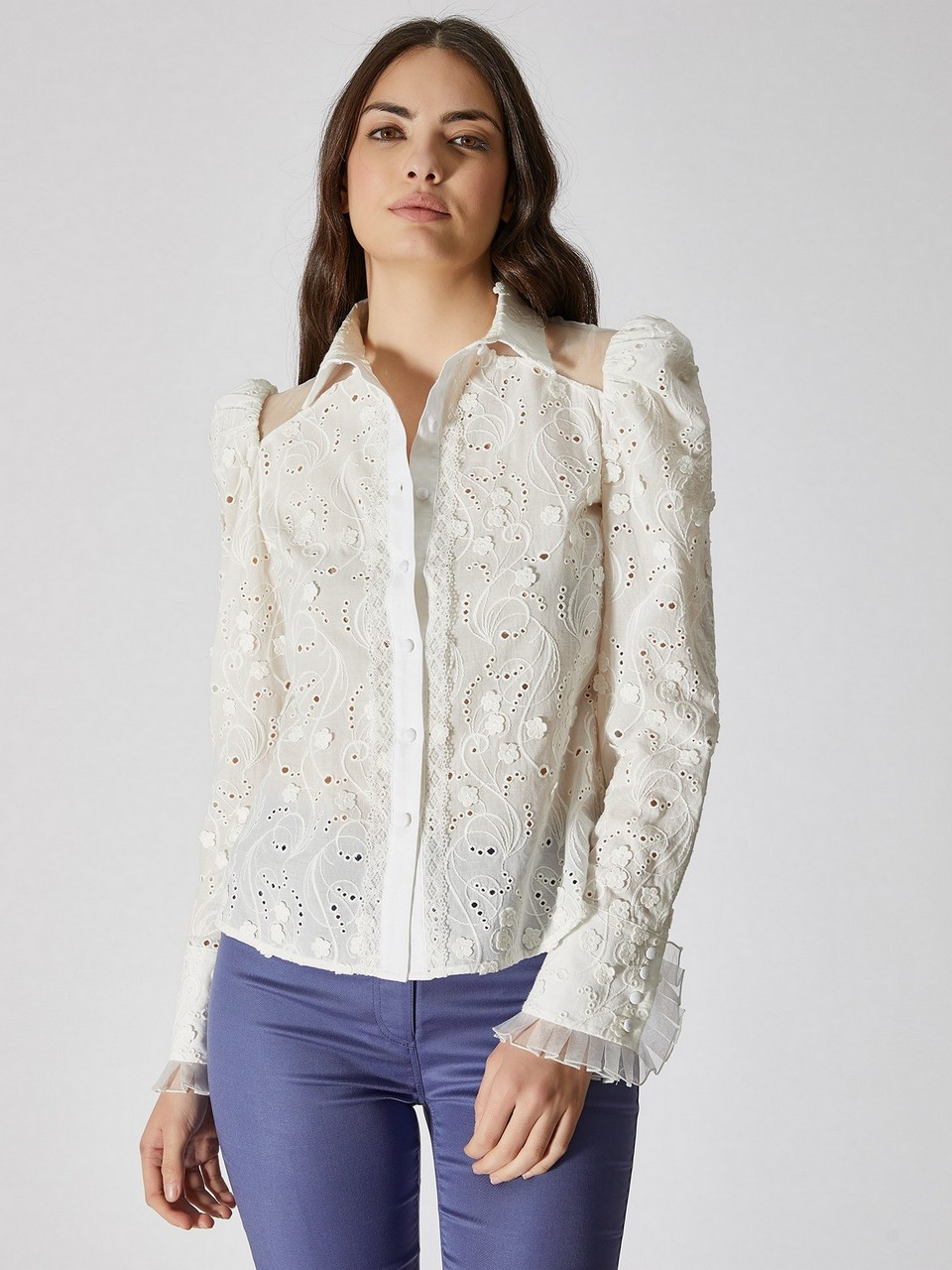 Chiffon Shoulder Detailed Lace Cotton Shirt