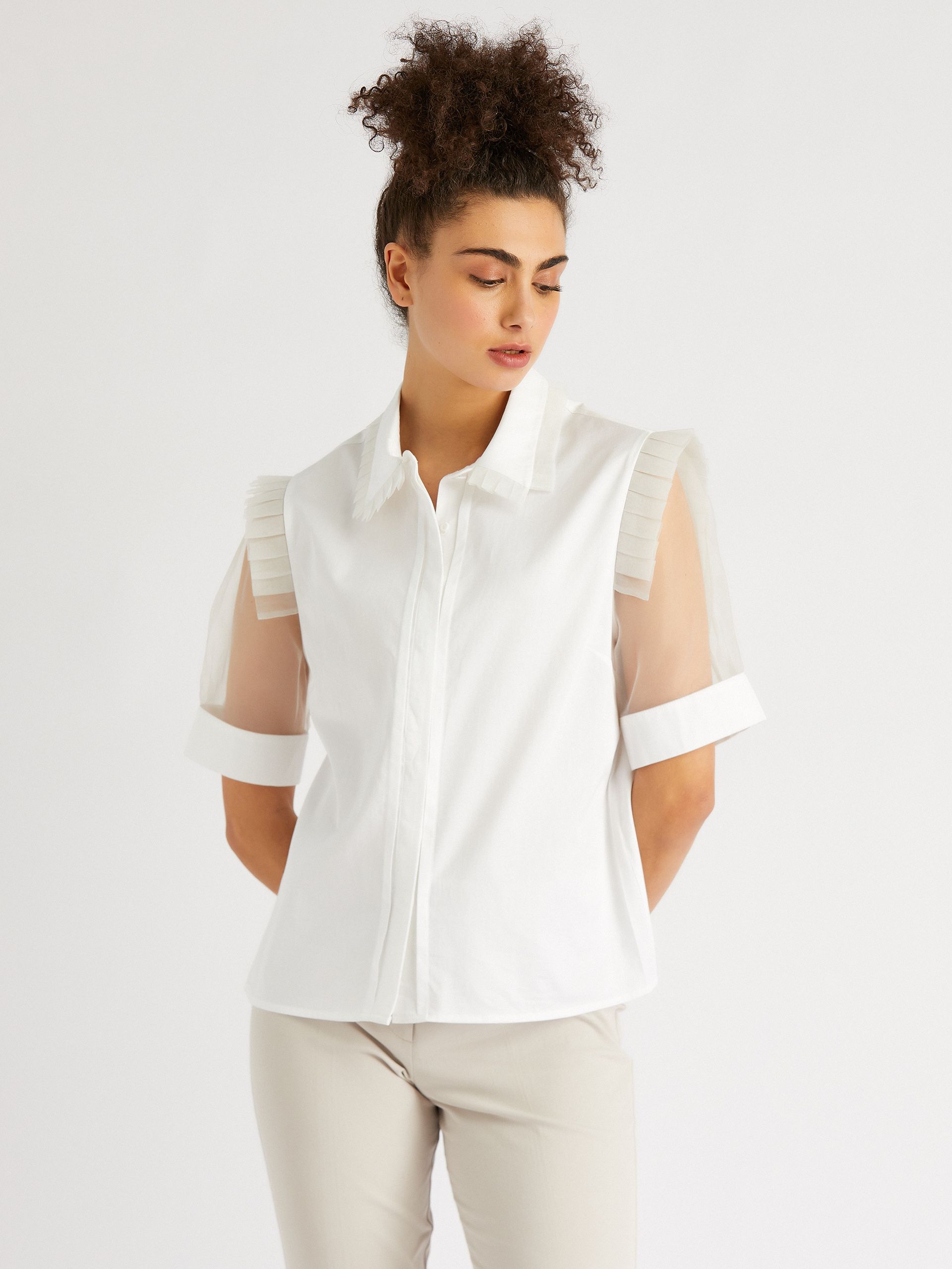 Chiffon Sleeve Shirt With Frilly Details On The Shoulders