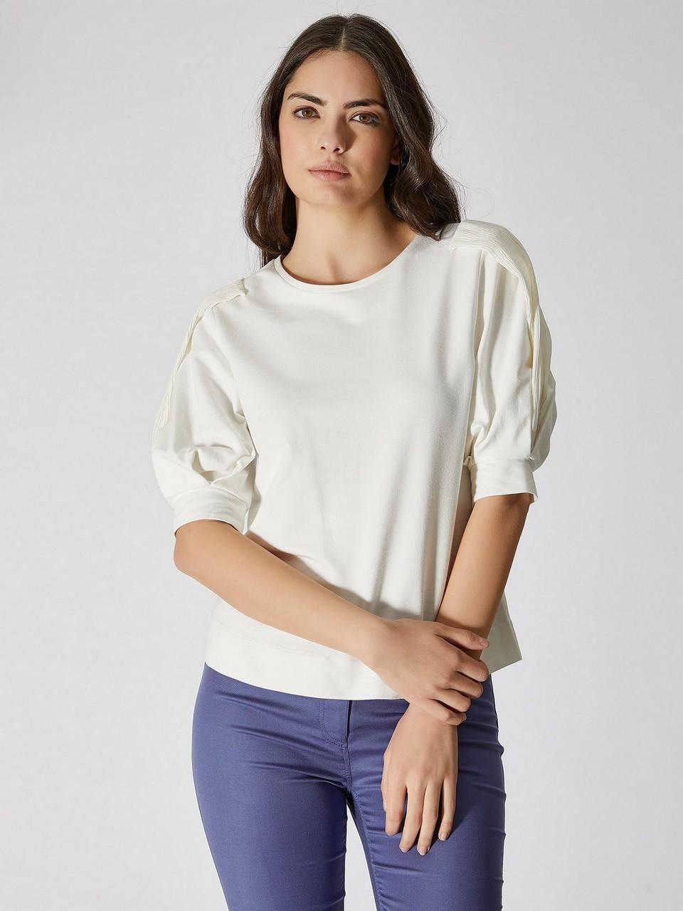 Chiffon Sleeve Detailed Cotton Blouse