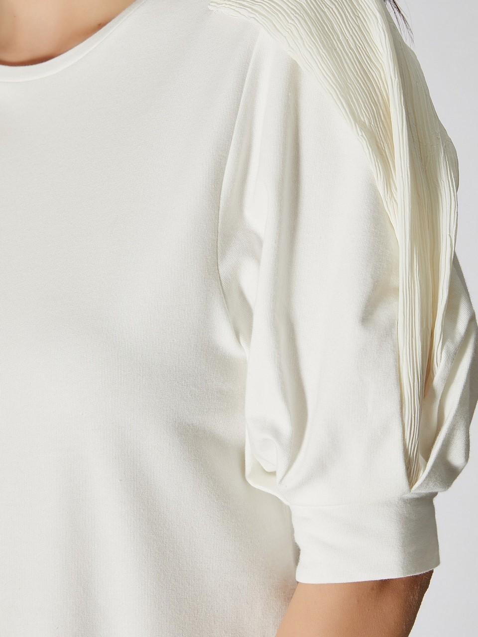 Şifon Kol Detaylı Pamuklu Bluz