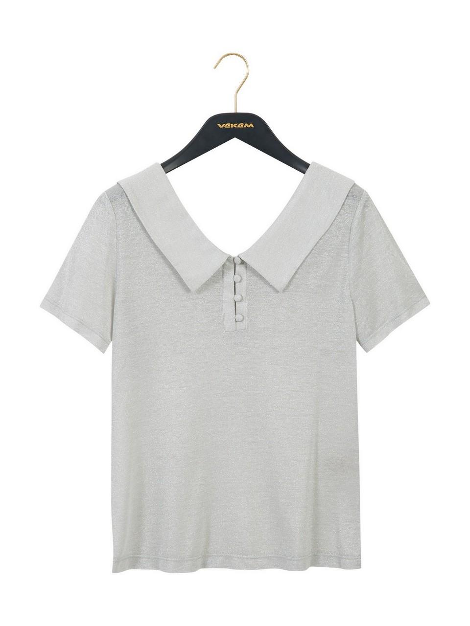 Gömlek Yaka Simli Bluz