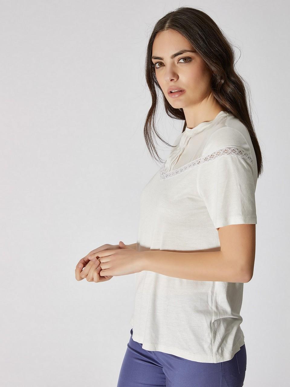Sıfır Yaka Dantel Detaylı Bluz