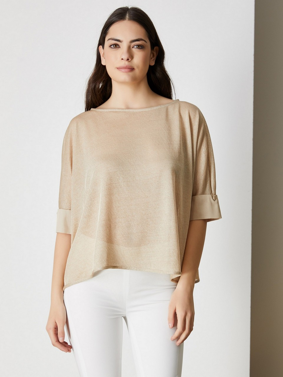 Boat Neck Three Quarter Sleeve Blouse