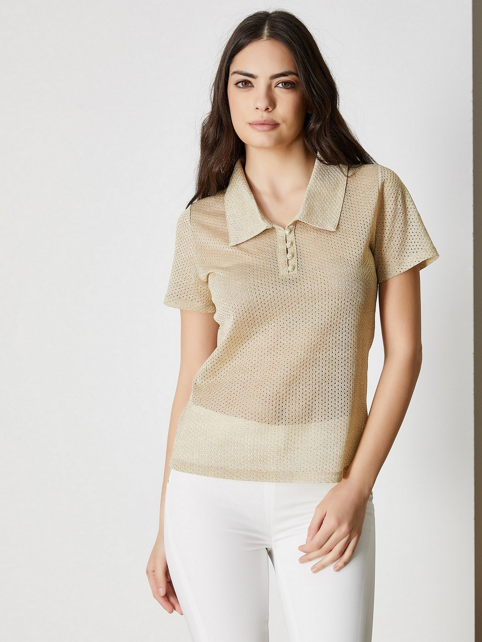 Shirt Neck Short Sleeve Blouse