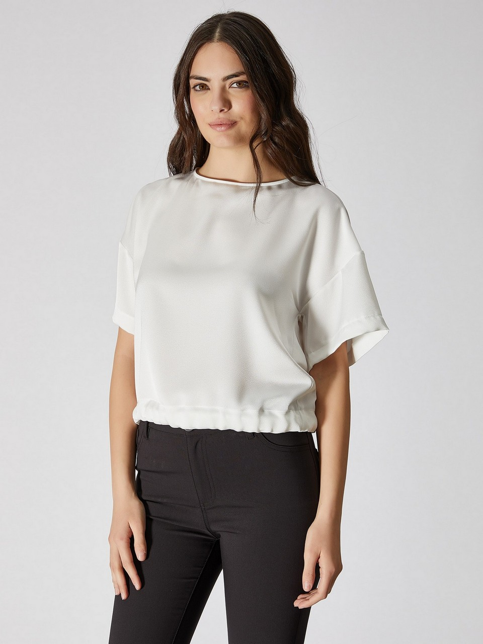 Gathered Waist Sateen Blouse