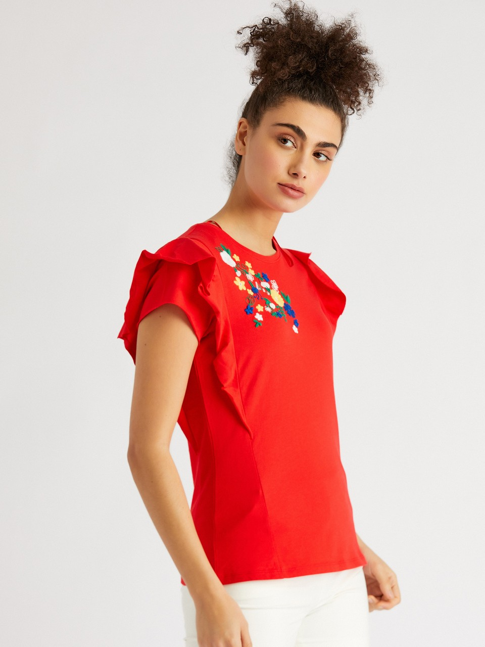 Round Neck Blouse With Floral Embroidery