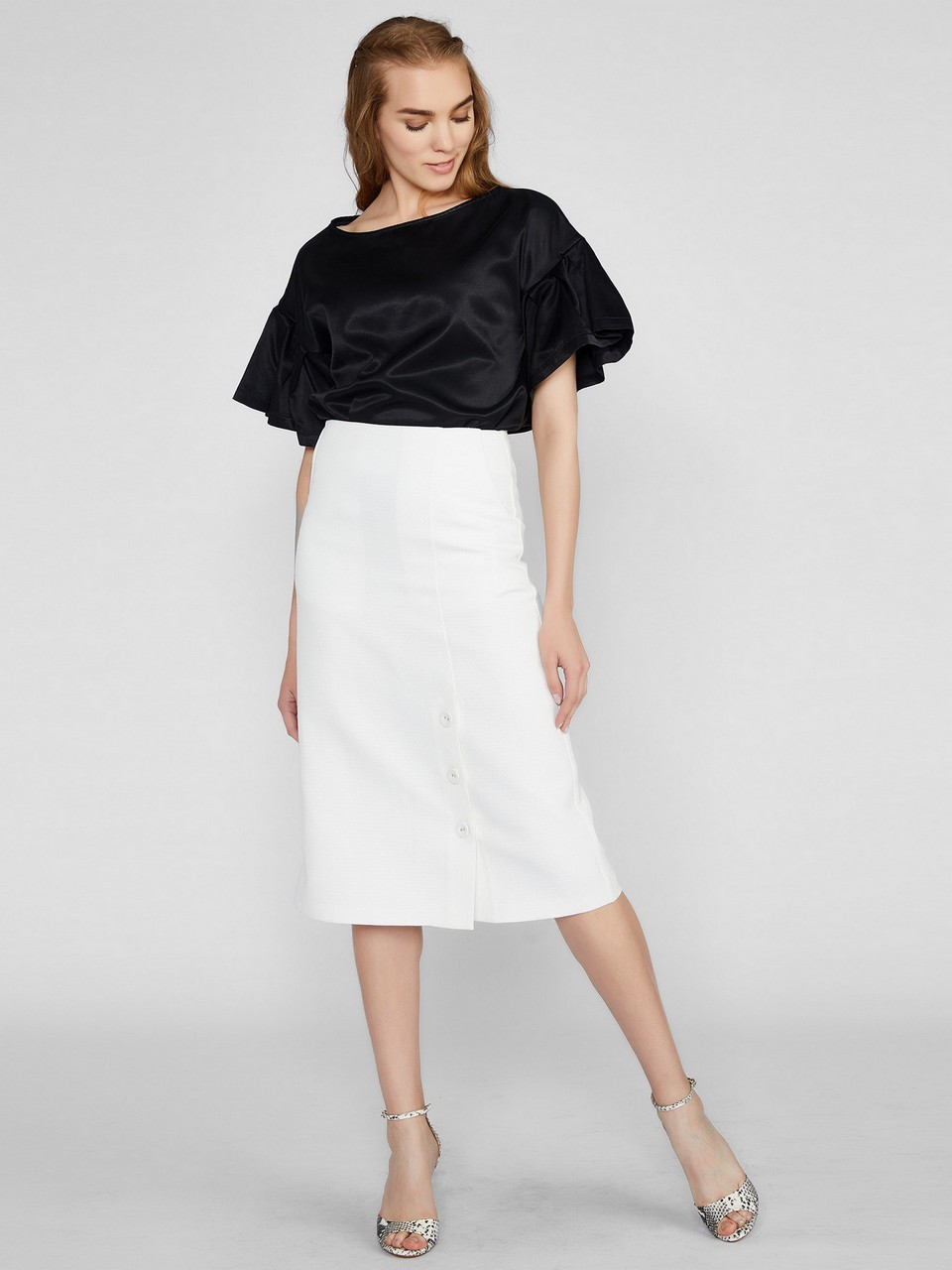Midi Size Skirt With Front Button Details