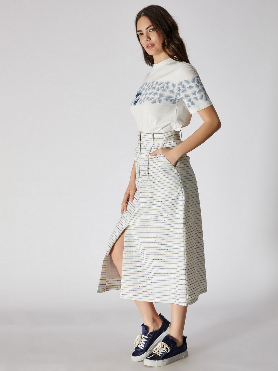 High Waist Striped Bell Shape Skirt