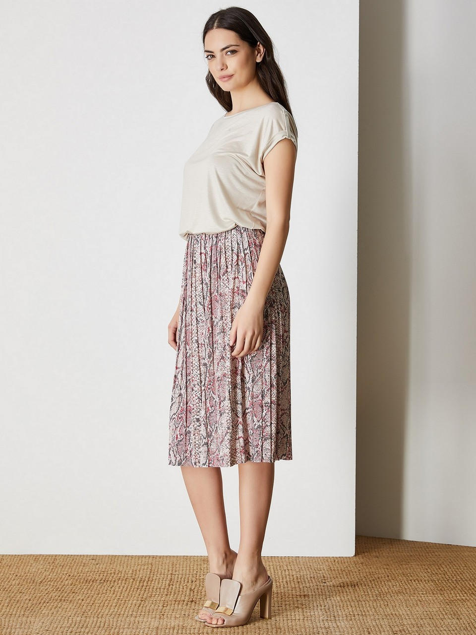 Phyton Printed Pleated Skirt