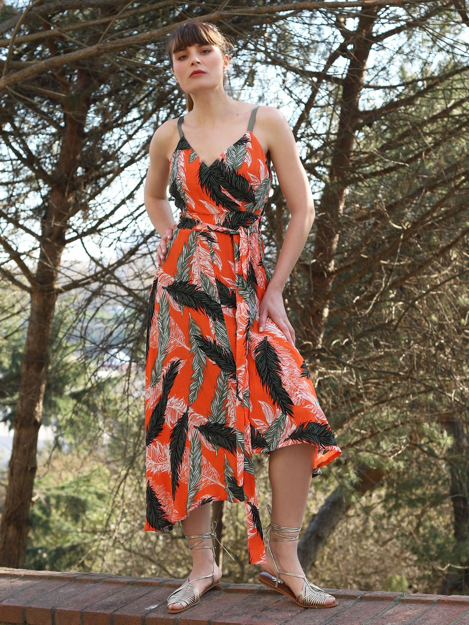 Floral Patterned Dress With Shoulder Strap