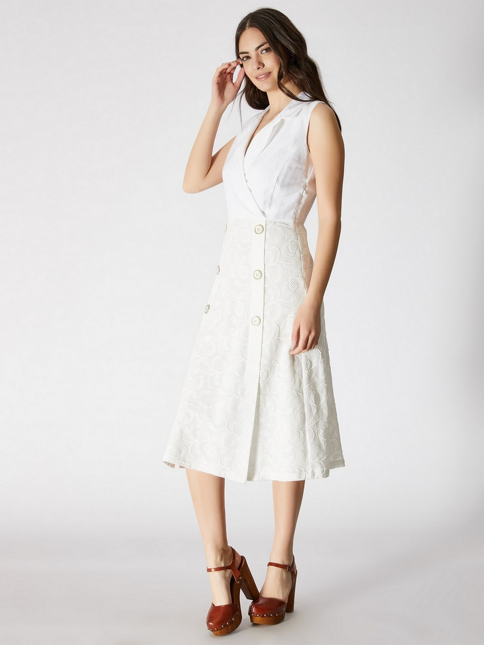 Sleeveless 100% Cotton Midi Dress