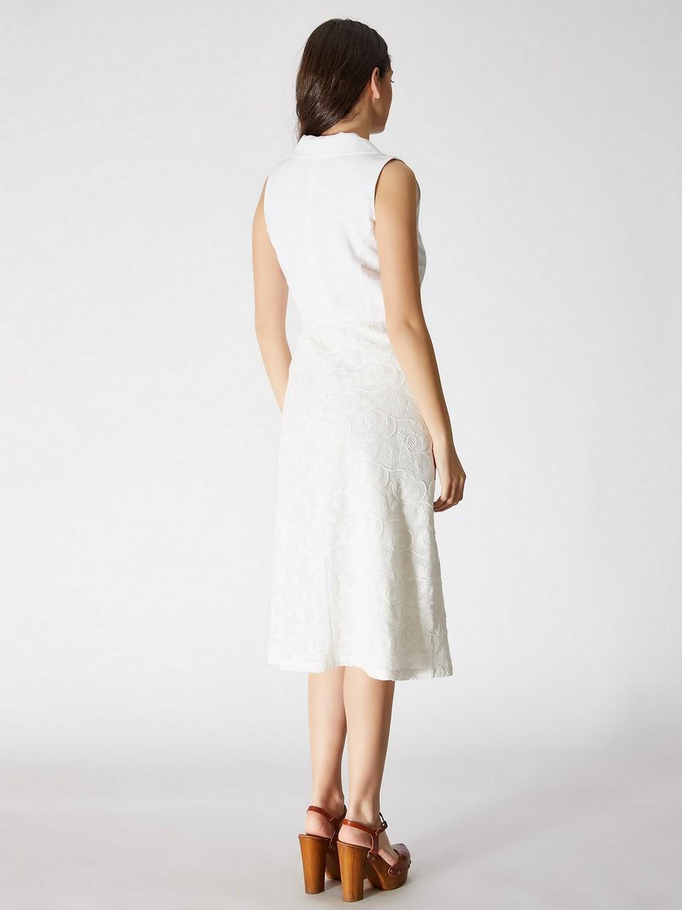 Kolsuz %100 Pamuk Midi Elbise
