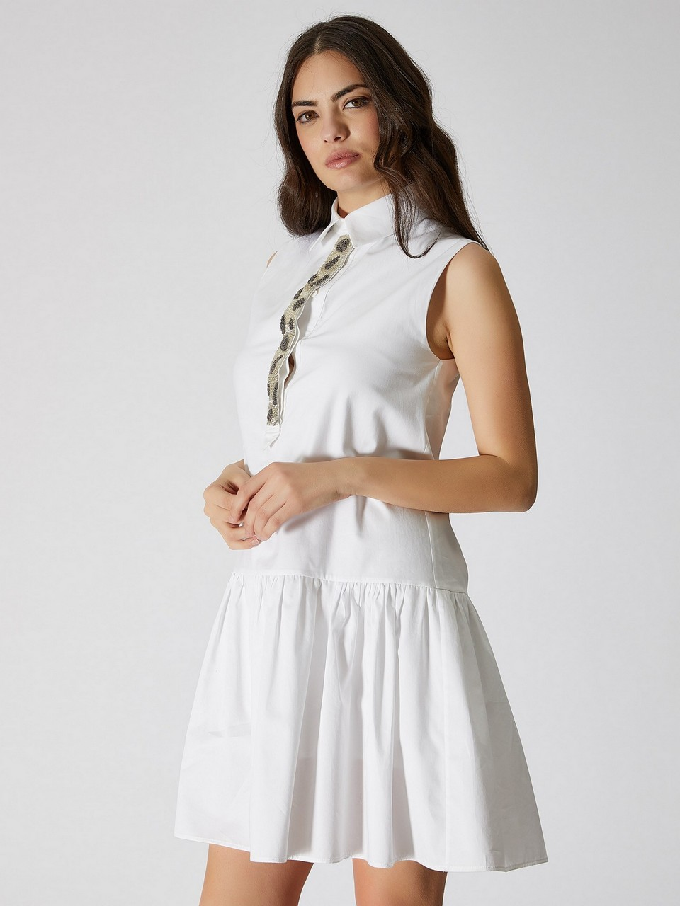Gömlek Yaka Kolsuz Mini Elbise