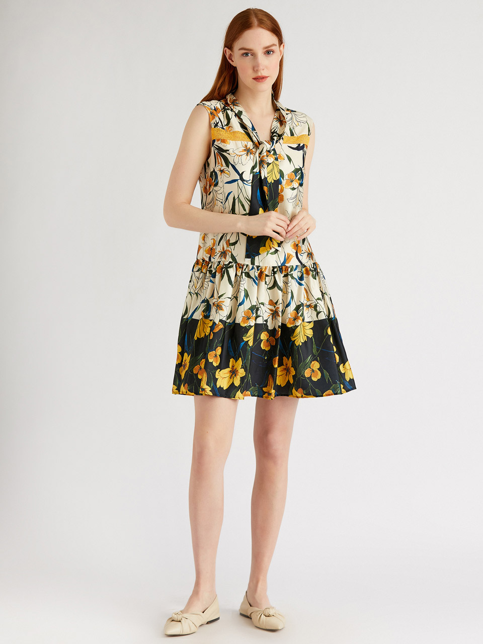 Tie Neck Floral Patterned Mini Dress