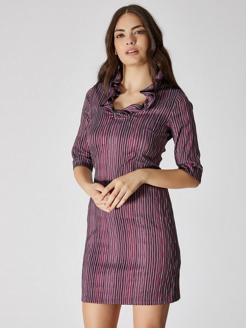 Yakası Fırfır Detaylı Mini Elbise