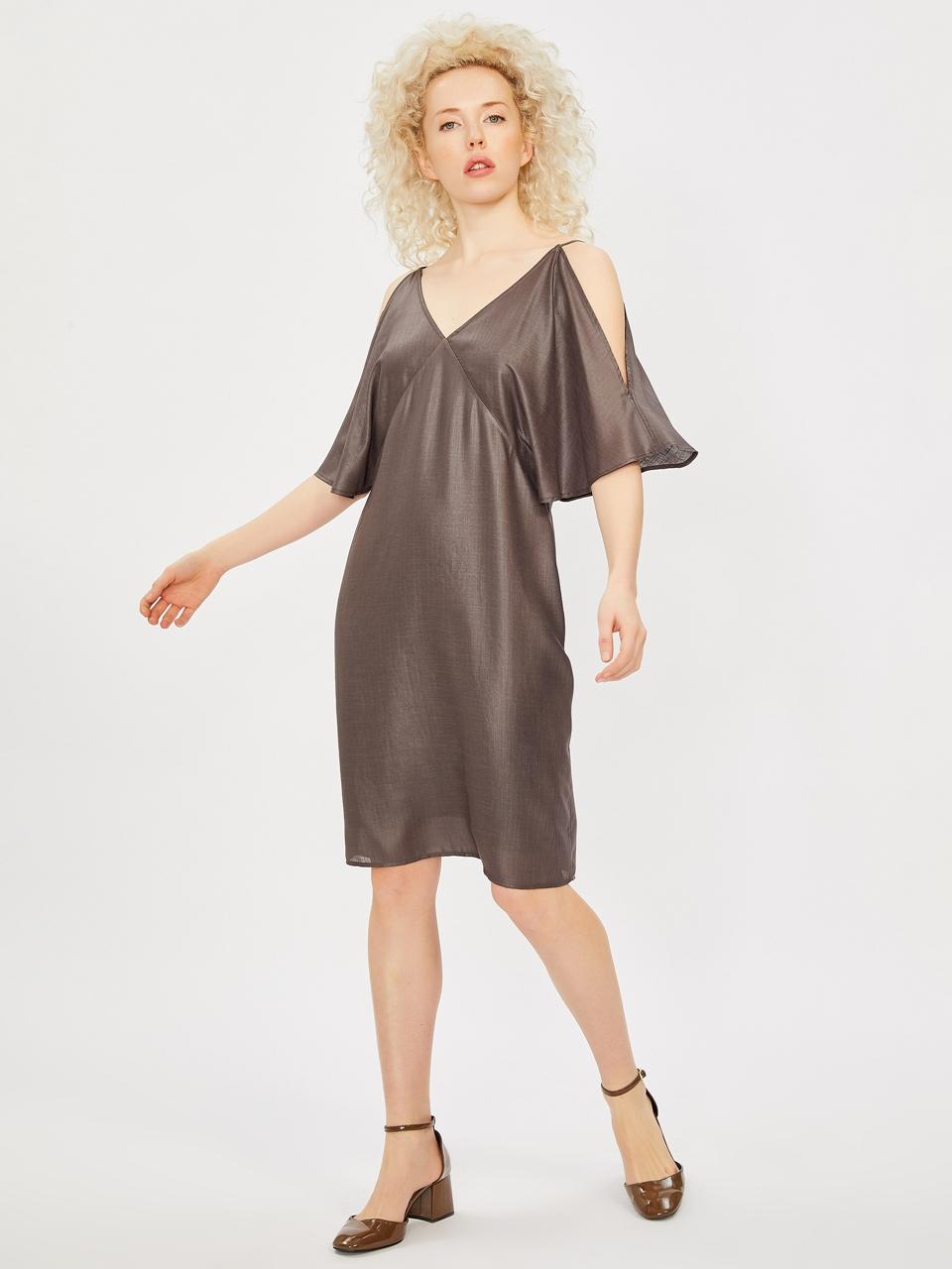 Spagetti Askılı V Yaka Elbise