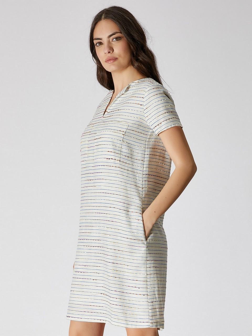 Çizgili Rahat Kesim Pamuklu Elbise