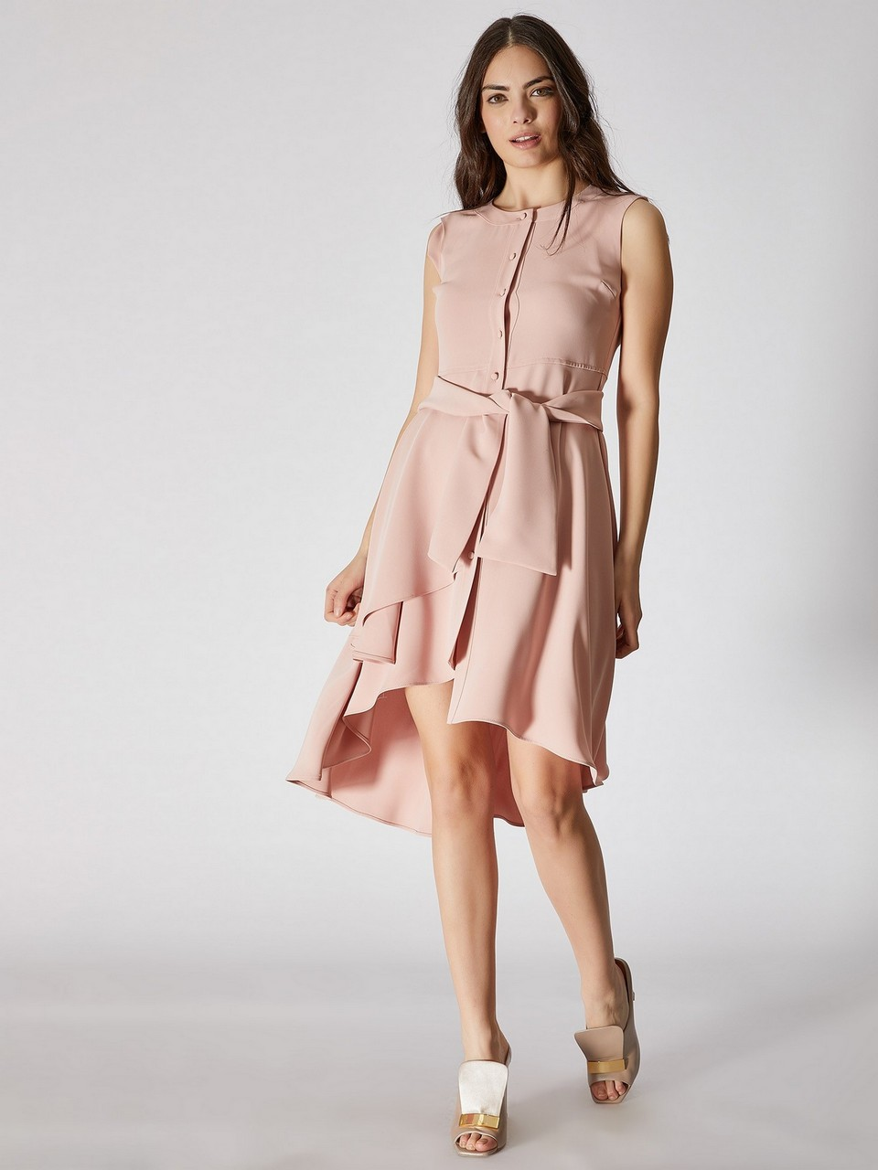 Sleeveless Asymmetric Cut Dress