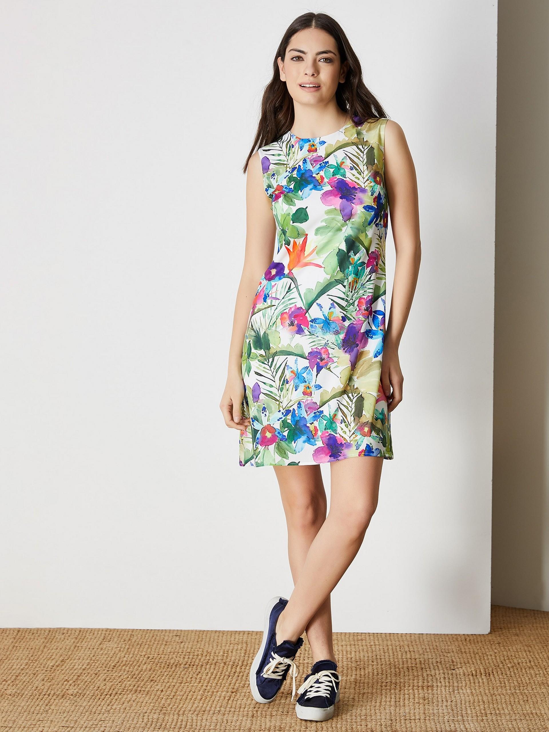 Çiçek Desenli Kolsuz Mini Elbise