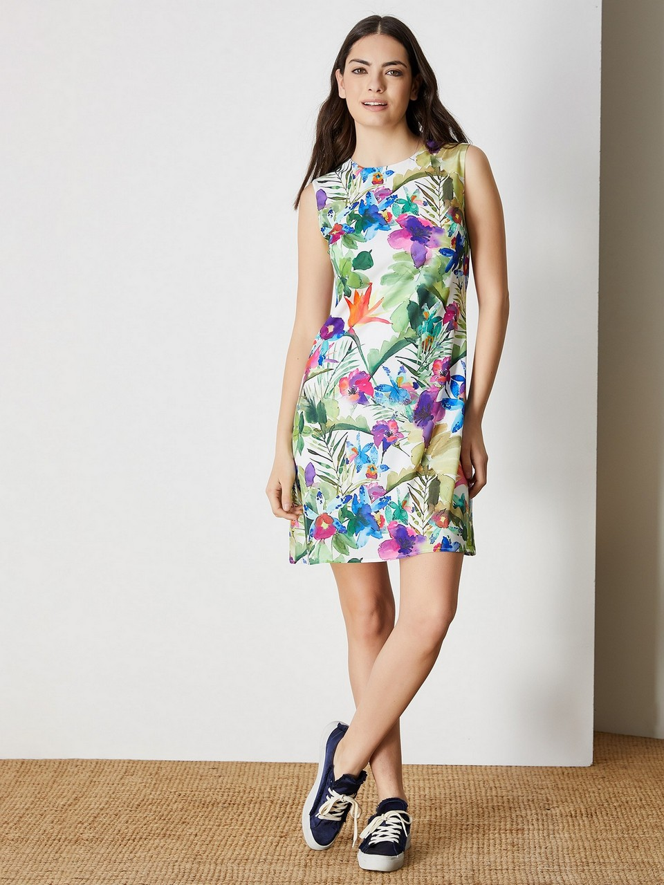 Sleeveless Floral Pattern Mini Dress