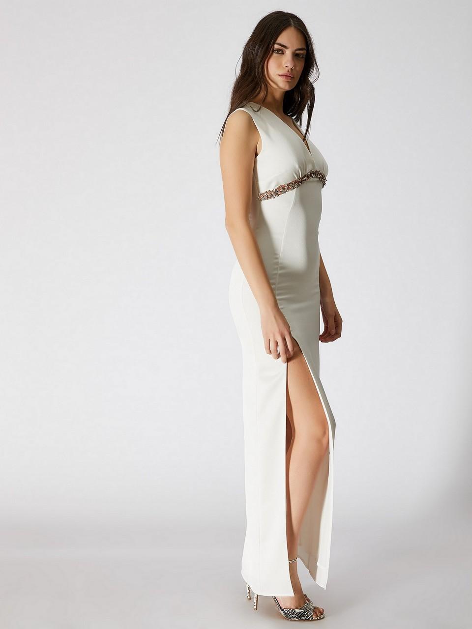 Kolsuz Yırtmaçlı Maxi Saten Elbise