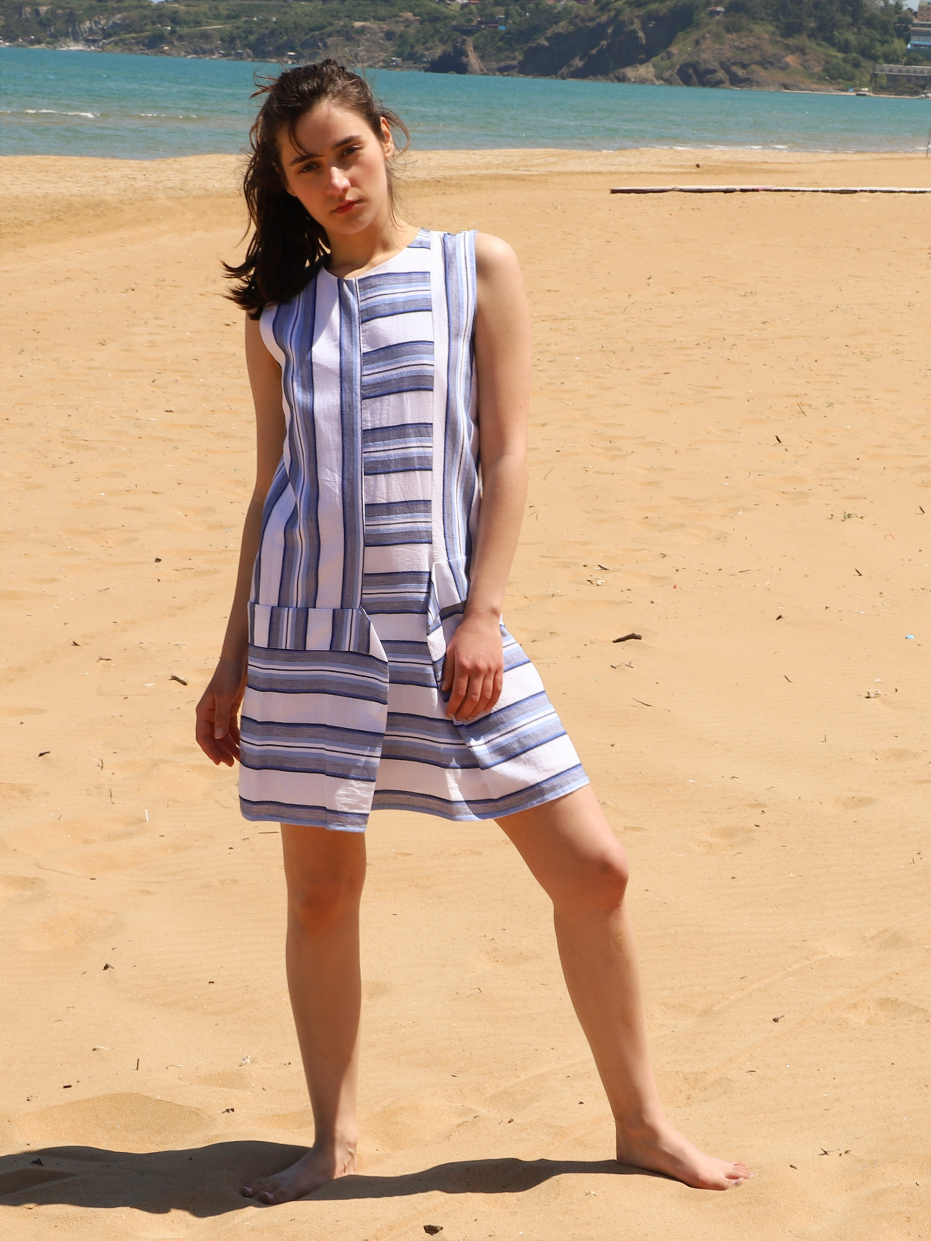 Round Neck 100% Cotton Mini Dress