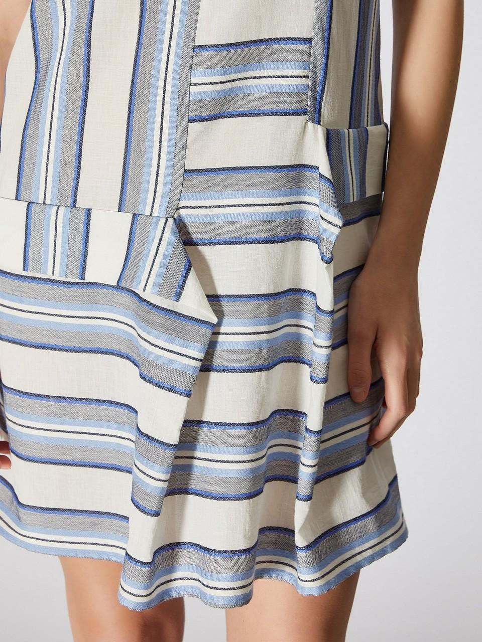 Sıfır Yaka %100 Pamuk Mini Elbise