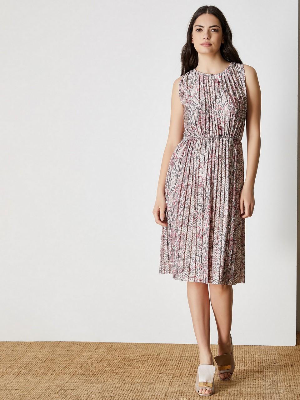 Piton Baskılı Pliseli Midi Elbise