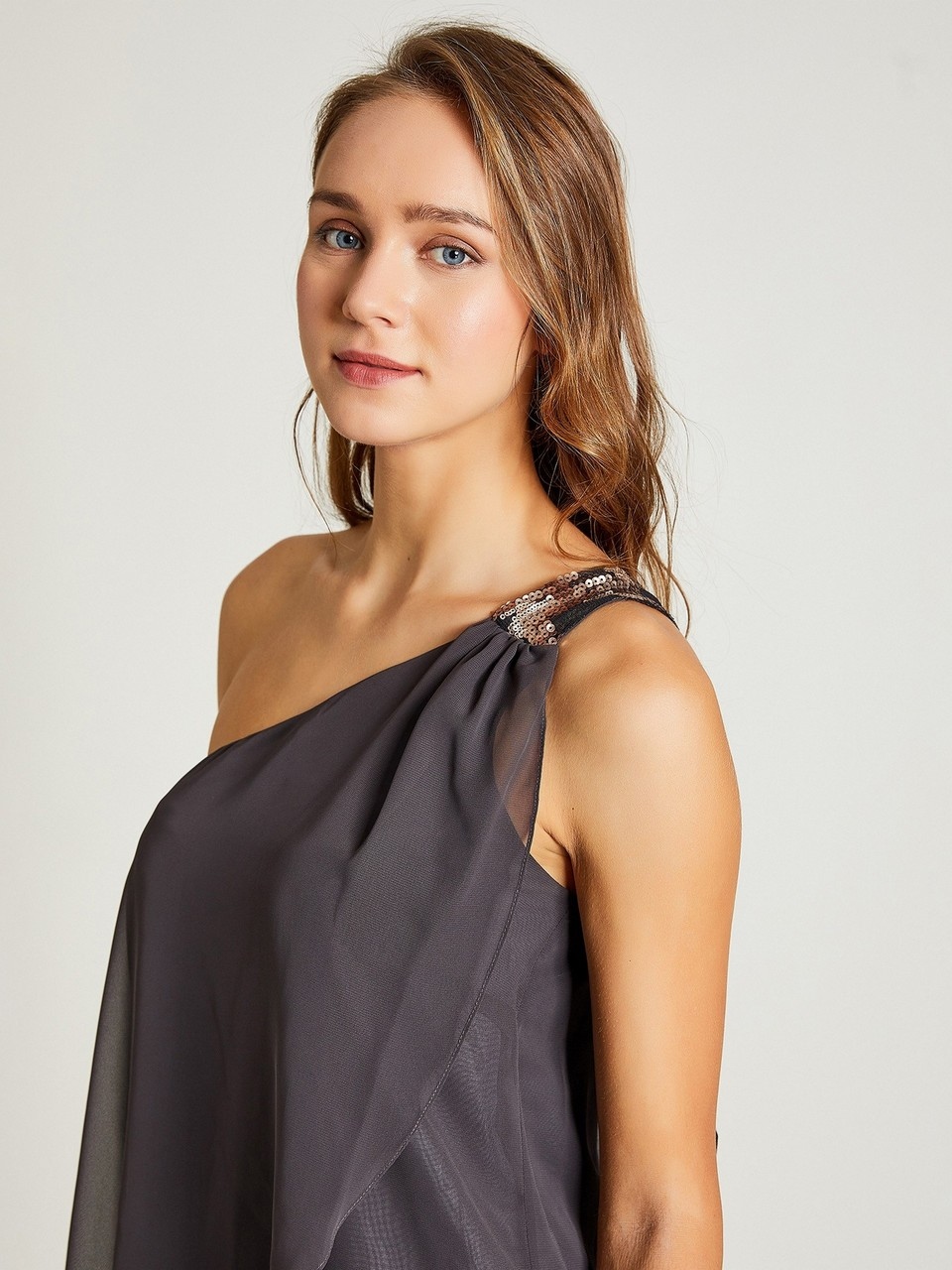 Off Shoulder Sequined Scarf Detailed Chiffon Dress