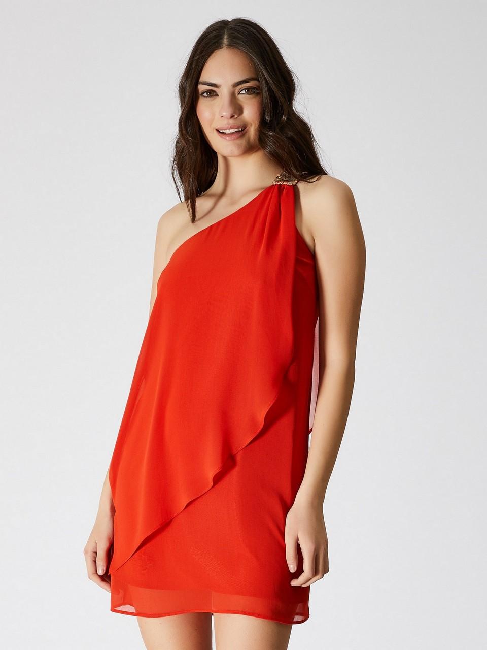 Tek Omuz Payet Detaylı Şifon Elbise