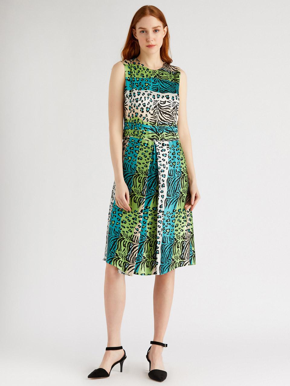 Leopard Print Midi Dress With Pleated