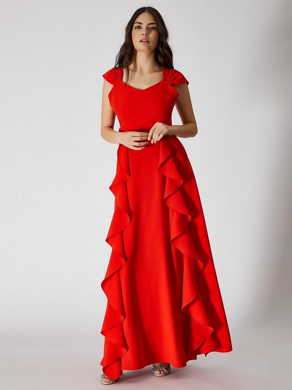 Kolsuz Volan Detaylı Maksi Elbise