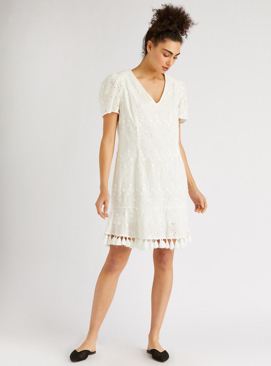 Fringe Detailed Embroidered Mini Dress