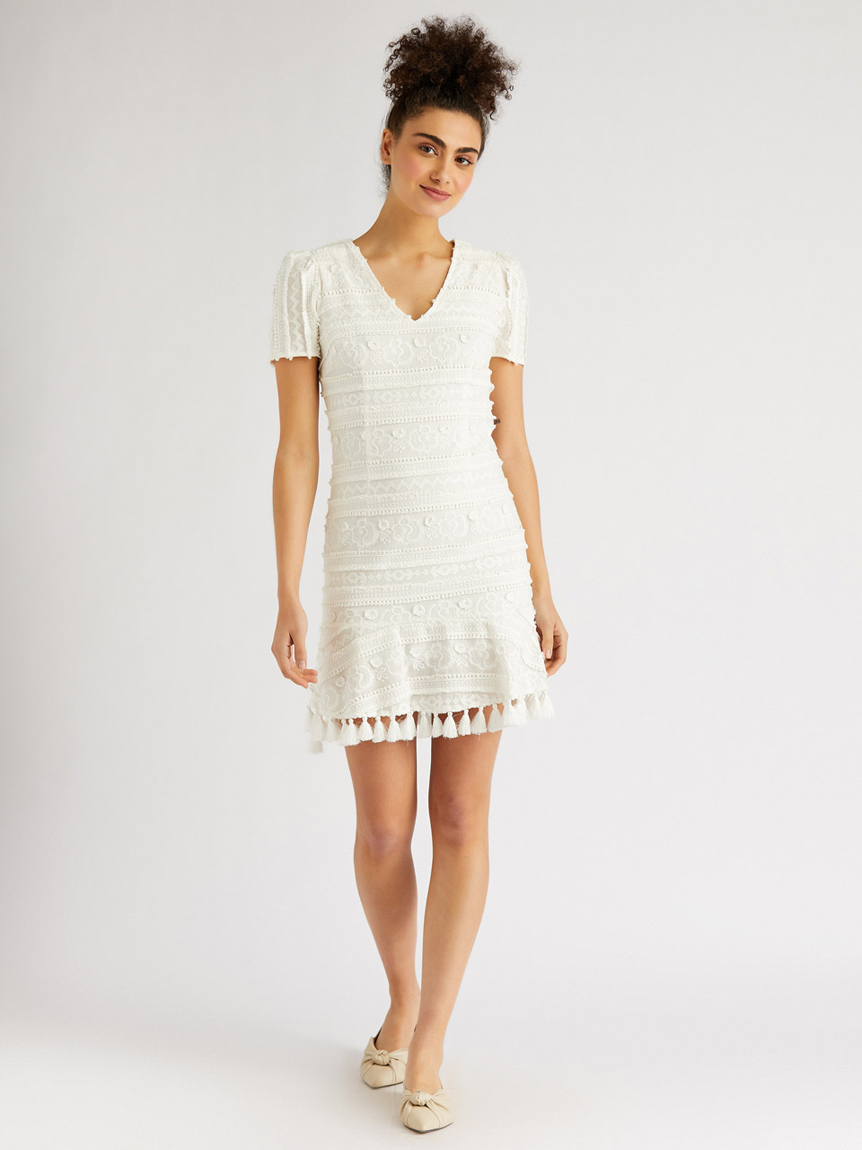 Fringe Detailed Embroidered Mini Dress