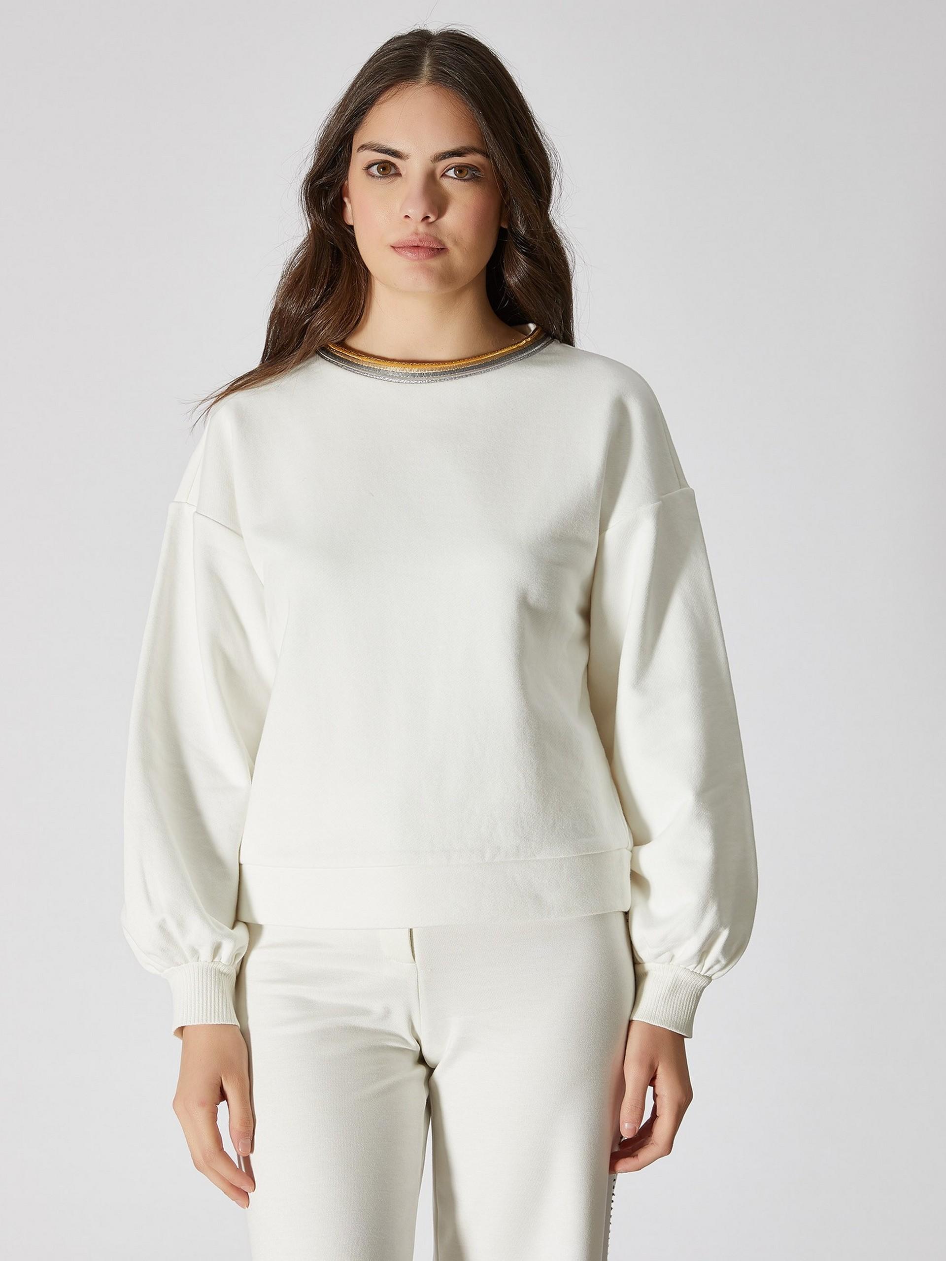 Striped Neck Sweatshirt