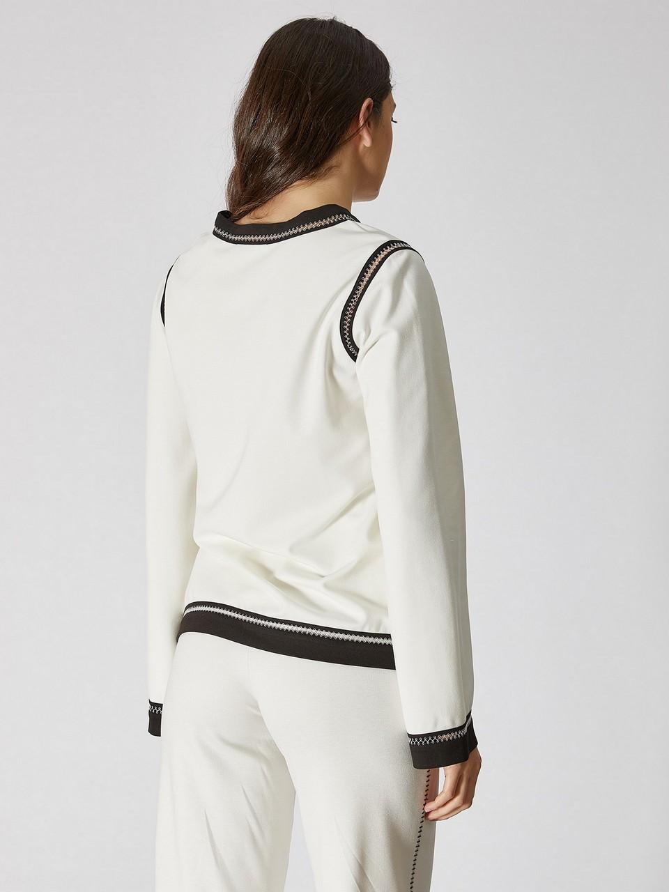 Kayık Yaka Uzun Kol Şerit Detaylı Sweatshirt
