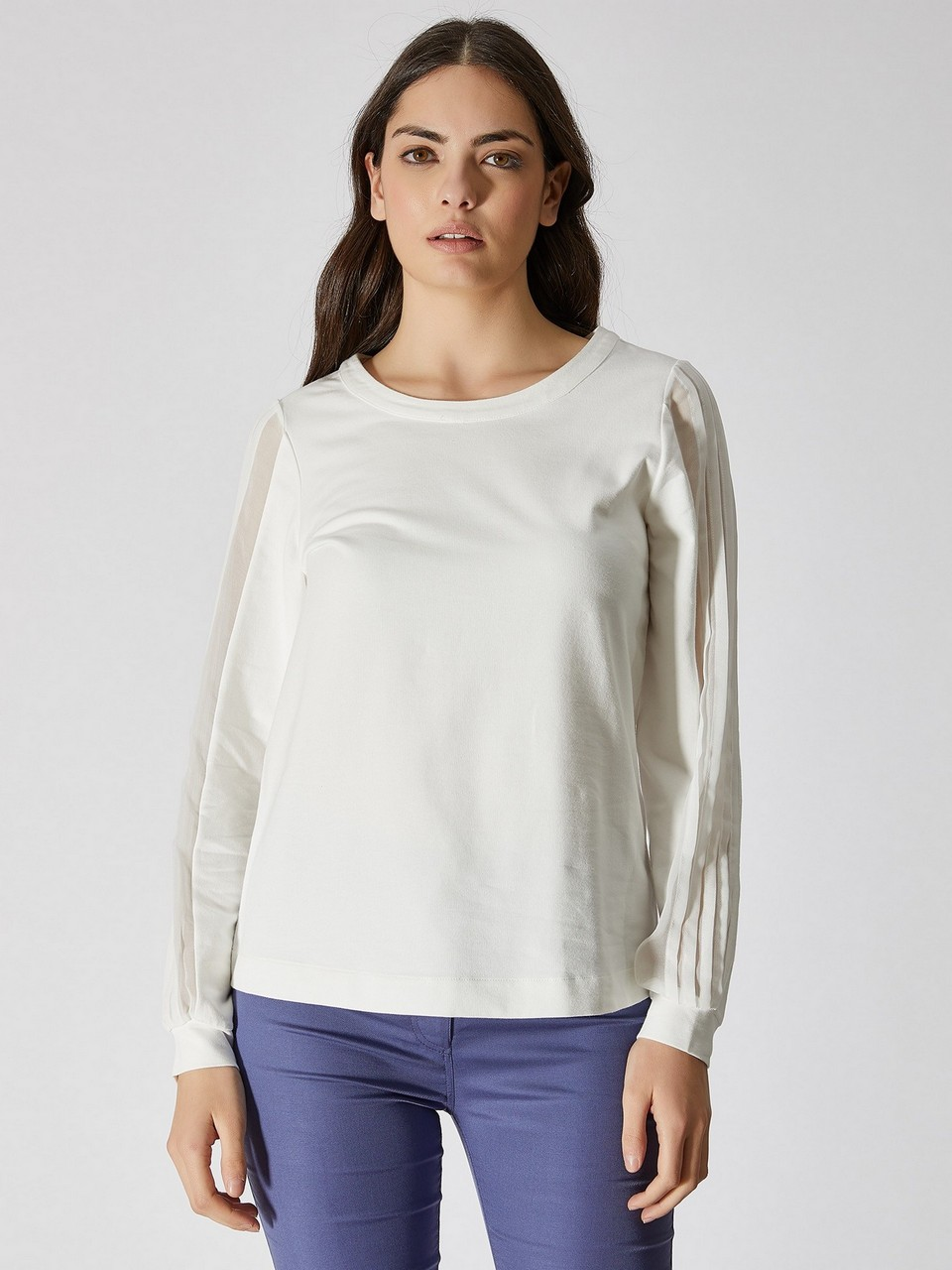 Chiffon Sleeve Detailed Sweatshirt