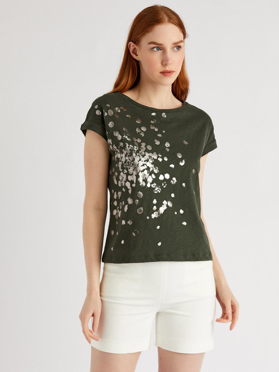 Sim Baskılı %100 Pamuk T-Shirt