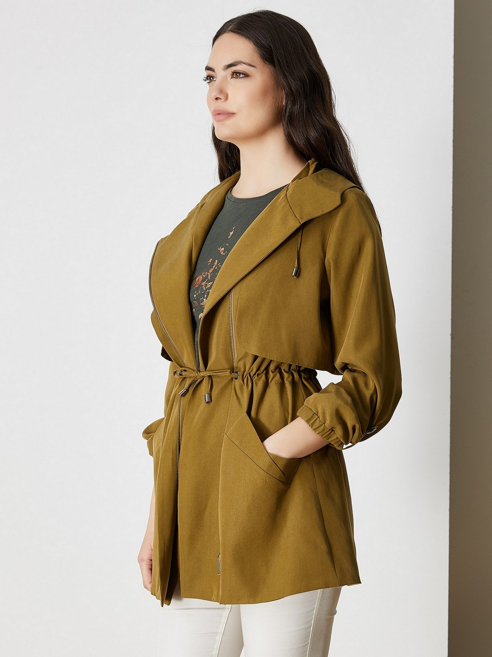 Gathered Waist Trenchcoat With Hood