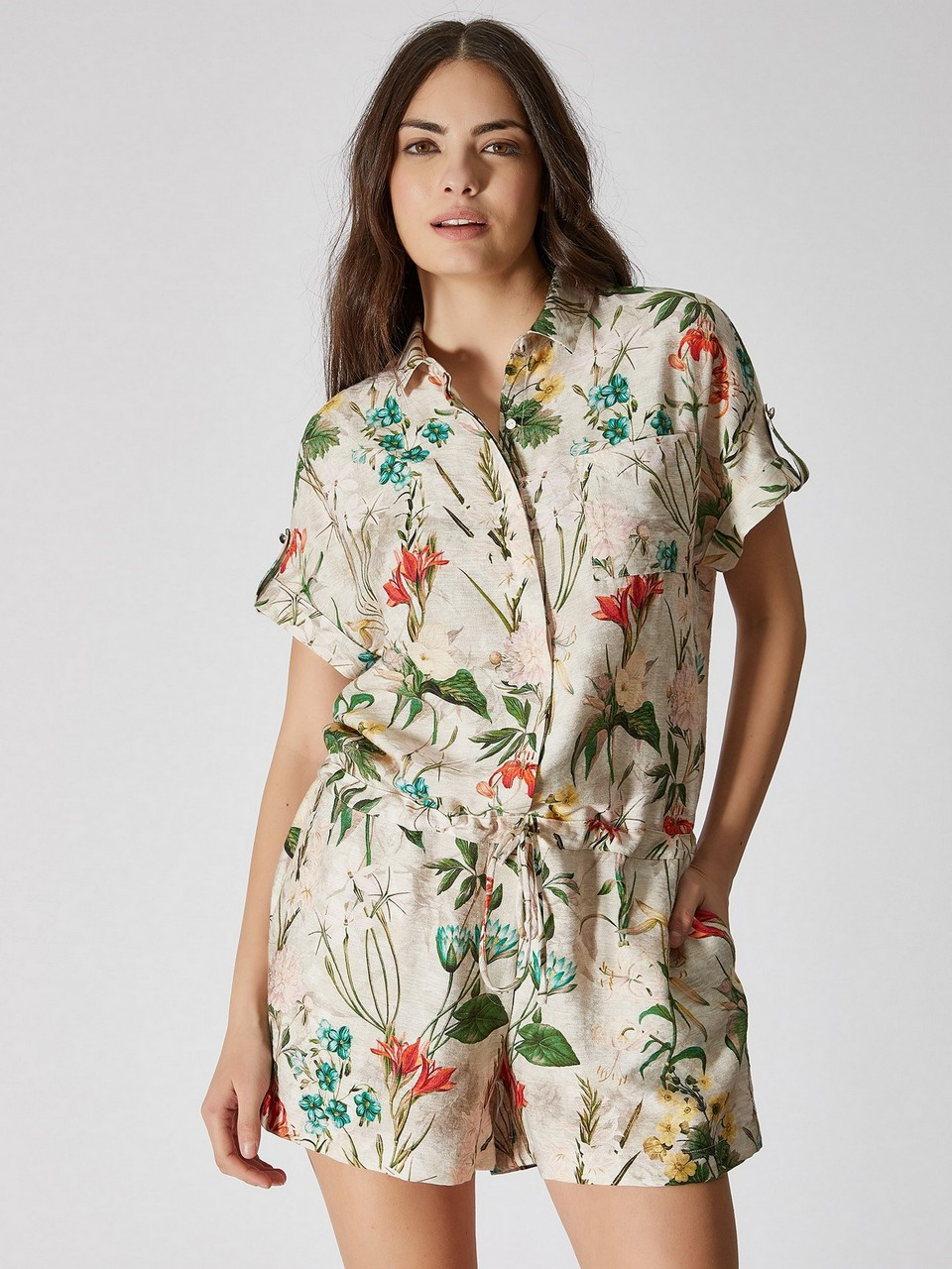 Shirt Neck Floral Patterned Jumpsuit
