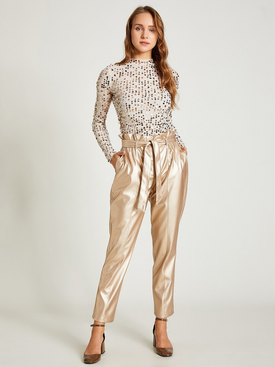 Gathered Wait Dore Leather Trousers