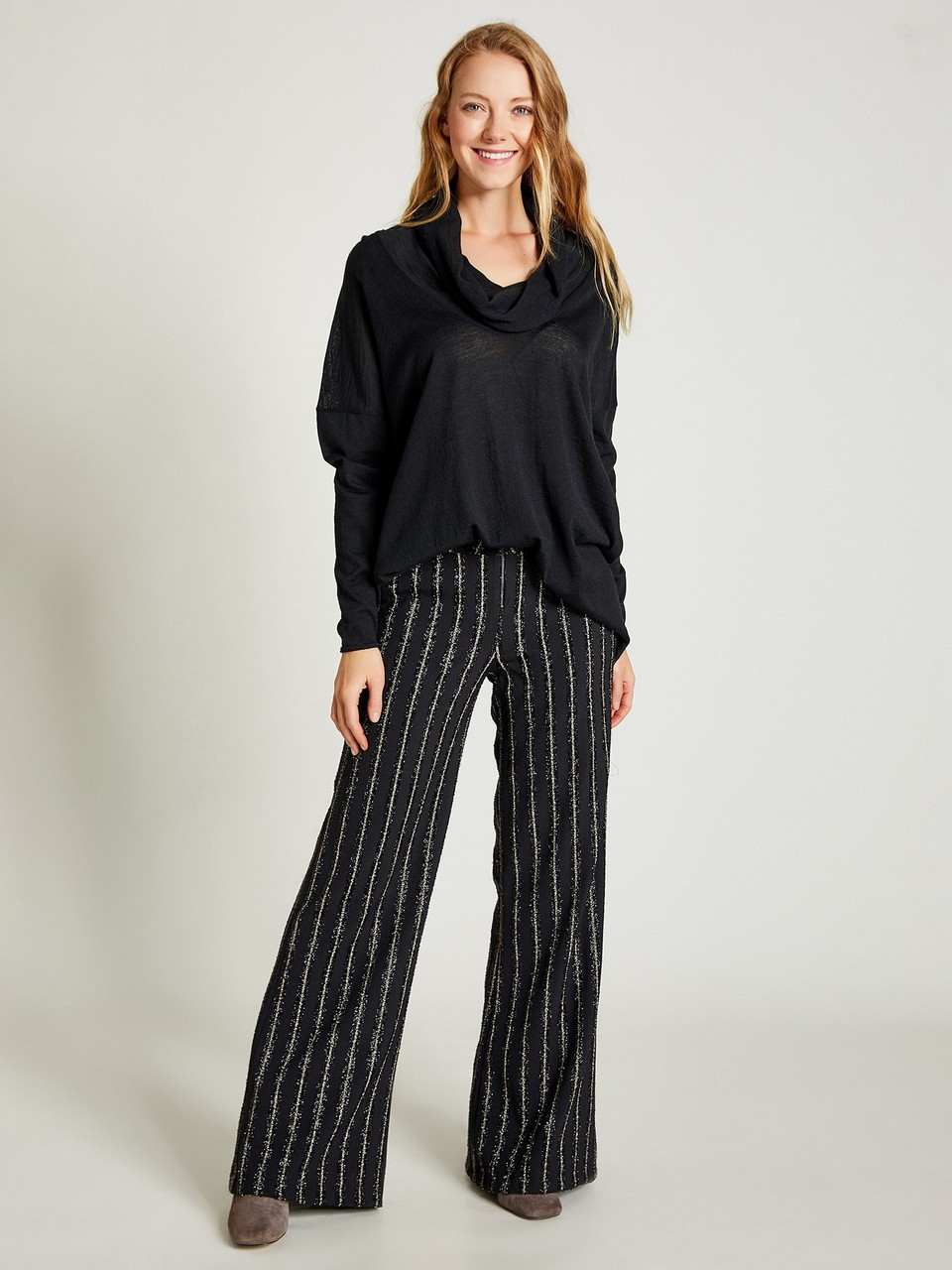 Wide Leg Trousers With Lurex
