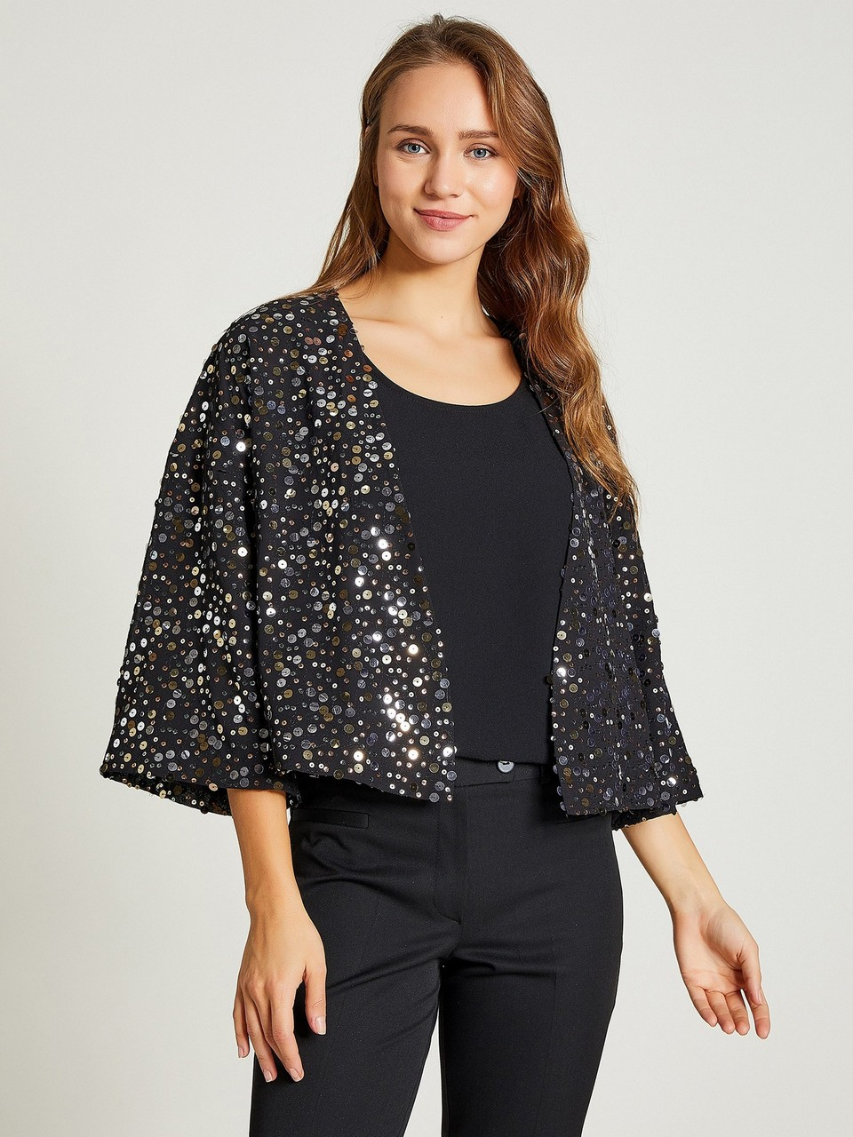 Three Quarter Sleeve Jacket With Sequined