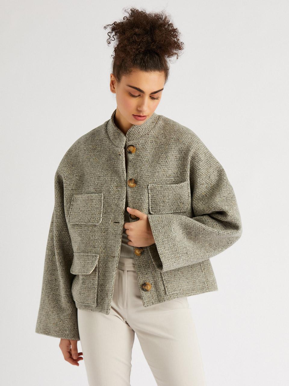 Wide Cut Judge Collar Wool Jacket
