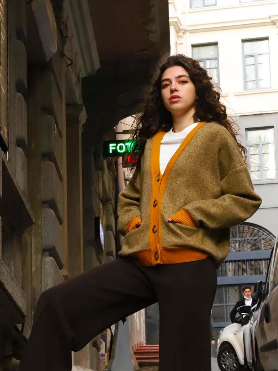 Oversized Cardigan with Band Detail