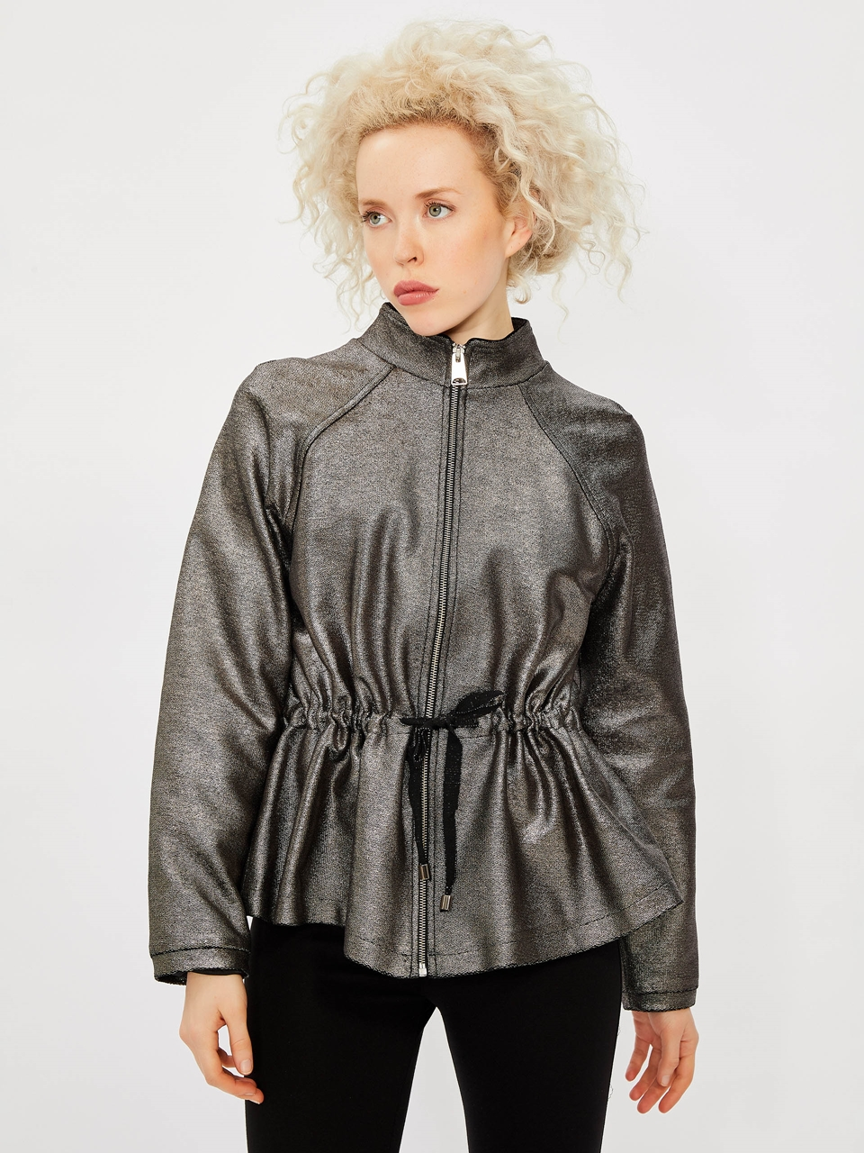 Metallic Jacket With Waist