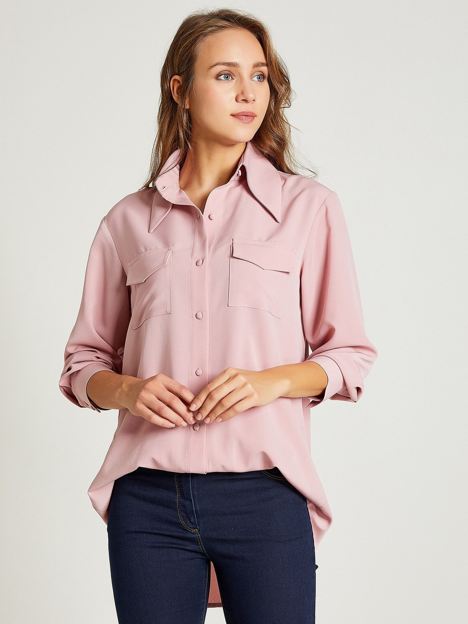 Wide Neck Crepe Shirt with Pocket